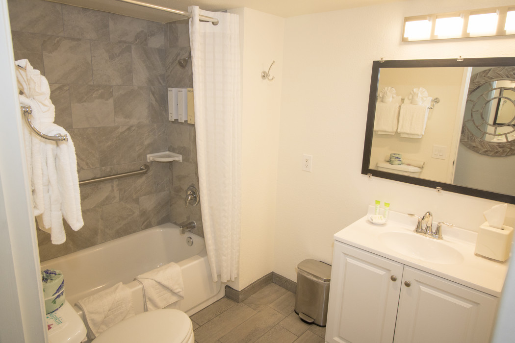 Enjoy getting ready for the day in our fully equipped guest bathroom.